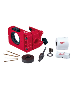 """Door Lock Installation Kit Door lock guide, 25mm Holesaw, 54mm Holesaw, Arbor and pilot bit assembly, 2 x 3/32 Drill bits, 2 x 1/8"""" Drill bits, Hole Saw Thread Adapter and Spacer, Depth Stop Insert."""
