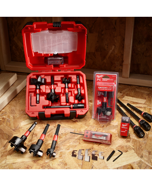SwitchBlade? Selffeed Kit - 35mm, 38mm, 54mm & 65mm, 140mm QUIK-LOK? Extension bit, Replacement blades, 4 x Feed screws, 4 x set screws, 1 x Hex wrench