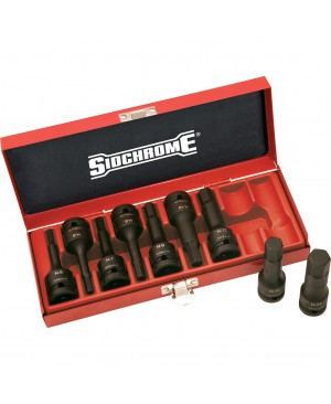 """Sidchrome 9 Piece 1/2""""Drive In-Hex Impact Socket Set – Metric"""